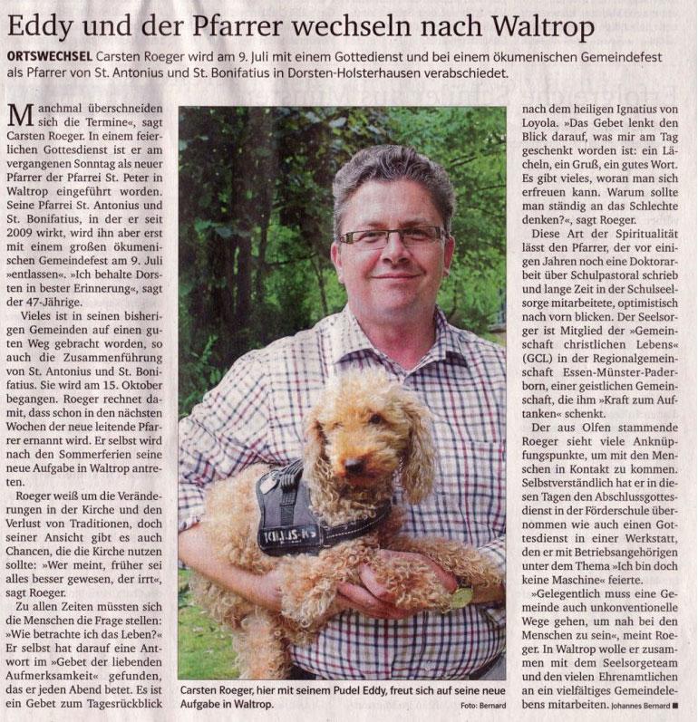 Carsten Roeger - Bericht der Kirchenzeitung vom 09.07.17