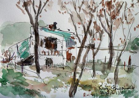 藤沢・頂上付近の山小屋風の建物