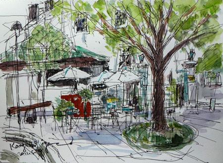 横浜市・開港広場とカフェ「Au jardin de Perry」