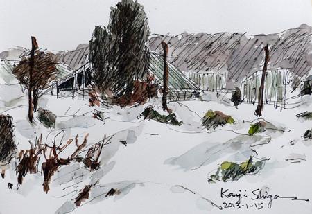 藤沢・雪の日のハウスと木立