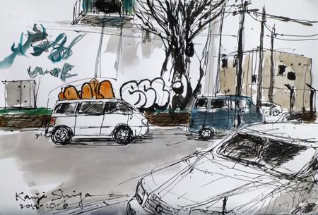 横浜・貯木場の倉庫街の落書き