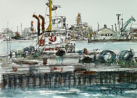 横浜市・コットンハーバーの堤防と船