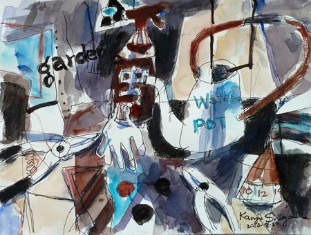 鵠沼水彩会展の出品作品「静物2」
