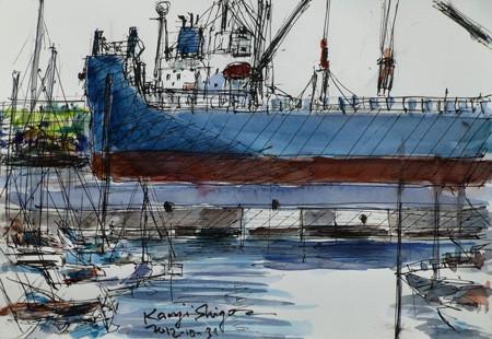 横浜・横浜ベイサイドマリーナ沖の貨物船WORLD STAR