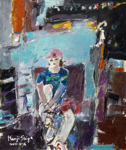 藤沢市・鵠沼洋画会展「帽子をかぶった少女」