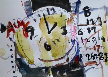静物・時計とカレンダー