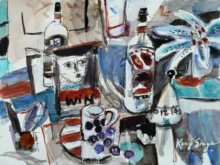 鵠沼水彩会展の出品作品「静物1」