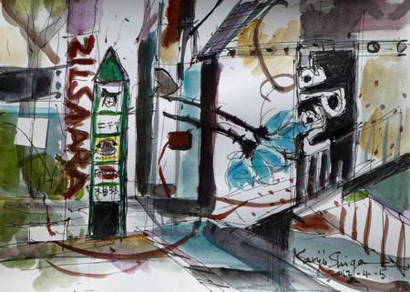 横浜市・馬車道の看板と広告塔