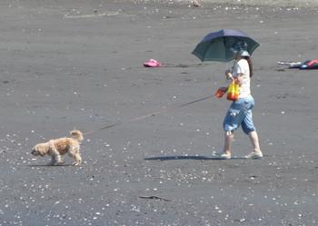 藤沢市・片瀬海岸を散歩する女性