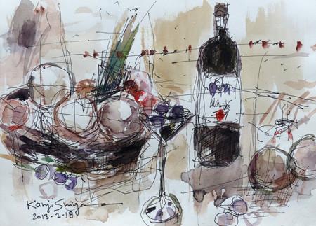静物「果物と瓶」
