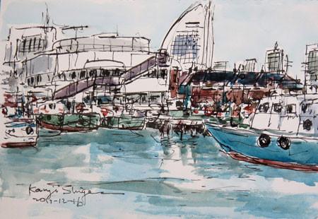 横浜・横浜港の水上警察の船