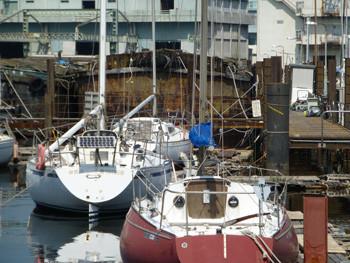 横浜・貯木場のプレジャーボートとはしけ