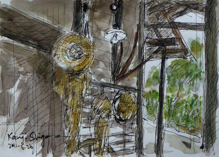 横浜市・舞岡公園の古民家の軒下