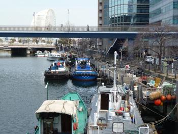 横浜市・大江橋付近の船