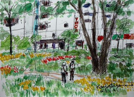 横浜市・横浜公園のチューリップまつりのなごり