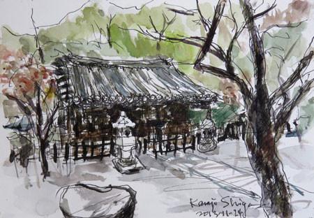 鎌倉・鎌倉大仏の観月堂と礎石