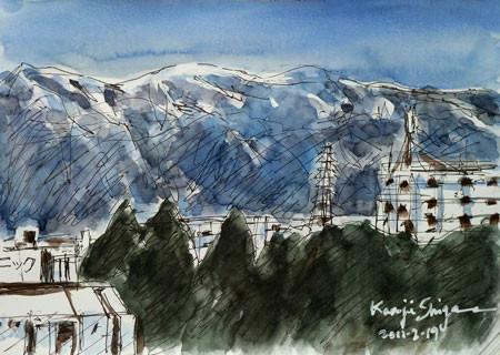 神奈川県・雪の丹沢の山々遠望