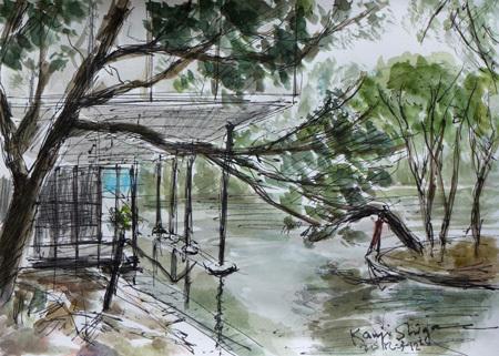 鎌倉市・神奈川県立近代美術館 鎌倉館の池