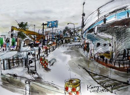 神奈川県・大磯漁港のパーキングエリア