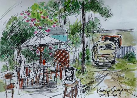 藤沢市・江ノ島裏通りのカフェマルのテラス