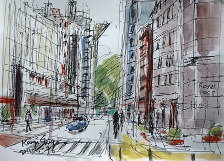 横浜市・ナイター照明塔が見える街角