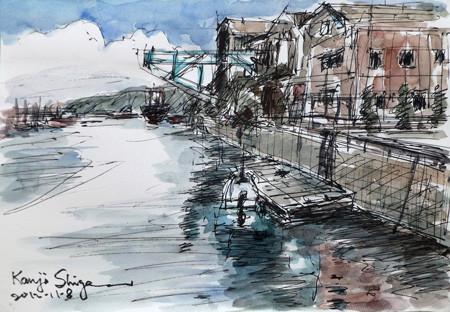 横浜・鳥浜工場地帯のクレーンとボート