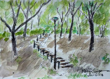 横浜市・舞岡公園のけやき広場の階段