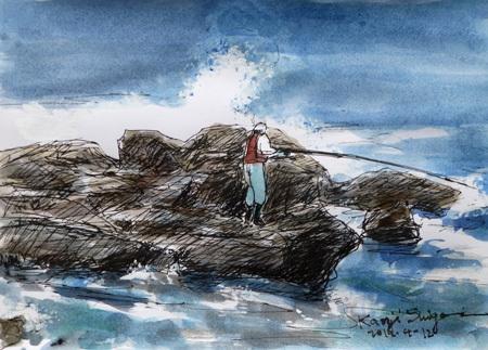 神奈川県・照ヶ崎海岸の釣り人