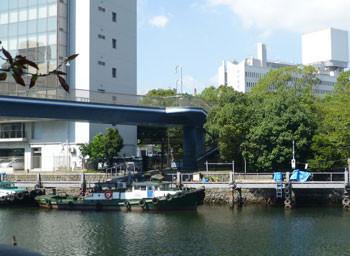 横浜・川端通りの船と対岸の森