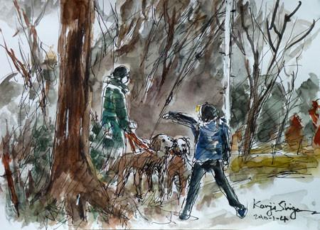 横浜・犬の散歩と孫