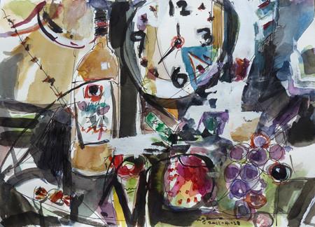 静物「時計、瓶とブドウ」と辛口メッセージ