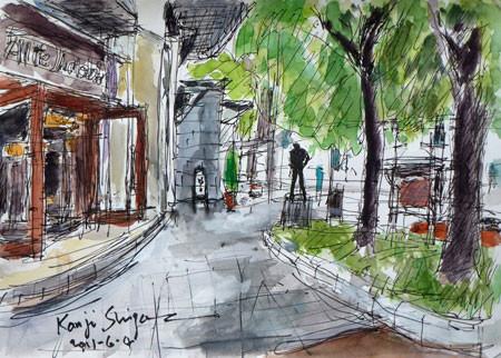 横浜市・日本大通りの彫刻(新聞配達する少年)