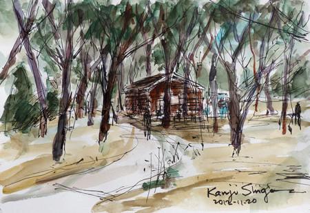 大和市・ふれあいの森の山小屋風トイレ