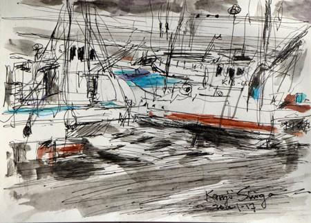 神奈川県・大磯港の2隻の漁船