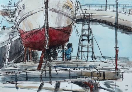 藤沢・片瀬漁港での漁船の修理