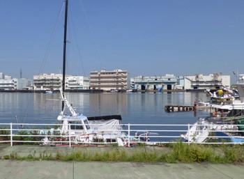 横浜・貯木場から見た山下埠頭遠望