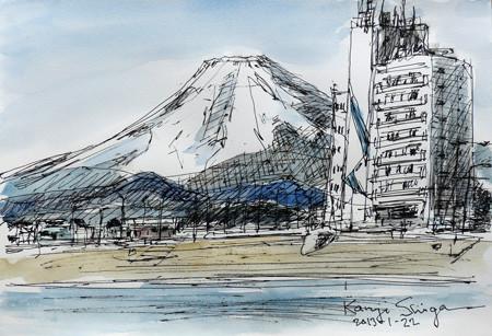 鎌倉・腰越漁港から見る富士山