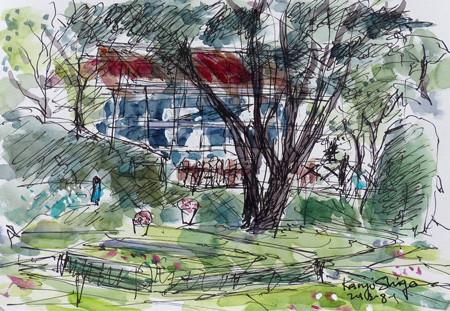 横浜・イタリア山庭園の外交官の家のテラス