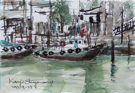 横浜・大岡川のタグボート
