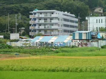 神奈川県藤沢市・引地川親水公園近くビルと落書き