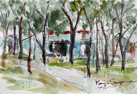 大和市・ふれあいの森の木々と工場