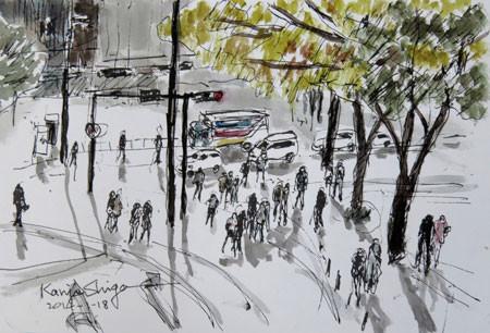 横浜・開港広場の交差点