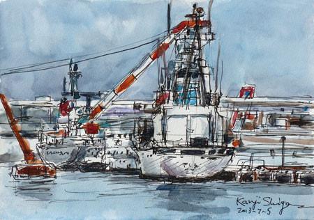 横浜・横浜港のクレーン船