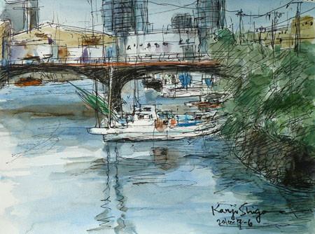横浜市・千鳥橋と白い船