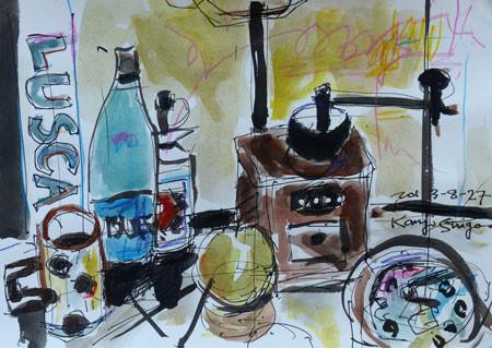 静物・コーヒーミルと青いビン