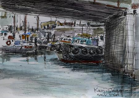 横浜市・弁天橋の船溜り