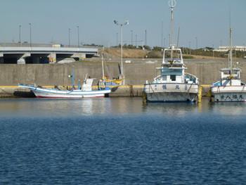 神奈川県・大磯港の小舟と漁船