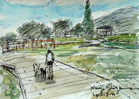 神奈川県藤沢市・引地川親水公園で犬と散歩
