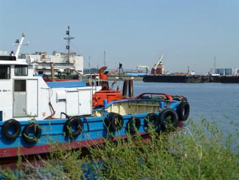 横浜・貯木場のタグボートとクレーン