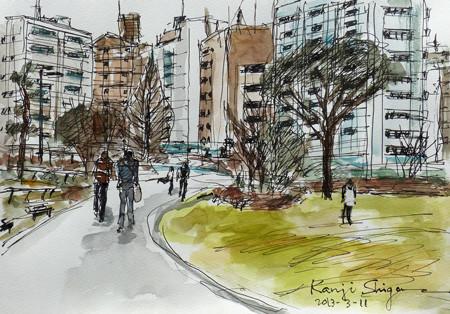 藤沢・奥田公園から見た藤沢のビル街
